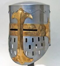 MEDIEVAL KNIGHT TEMPLAR CRUSADER Middle Ages Two Tone Steel HELMET ARMOR M New