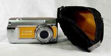 Canon PowerShot A470 7.1MP Digital Camera - Silver / Orange TESTED WORKS w/ Case