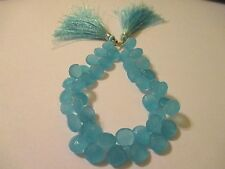 8 Inch Strand Faceted Heart Aqua Chalcedony Beads Strand AC3
