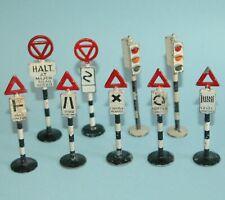 "9 vintage ENGLISH ROAD SIGNS TRAFFIC LIGHTS 3 - 3 1/2"" Johillco Britains GILCO?"