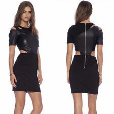 Greylin Revolve Susina cutout bodycon Dress faux leather size Large L