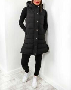 Ladies Hooded Quilted Zip Up Gilet Ladies Waistcoat Padded Vest Long Bodywarmer