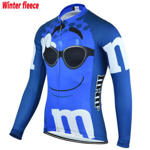 M&M Team Long Sleeve Cycling Jersey Heat Winter Fleece Retro Road Pro Clothing