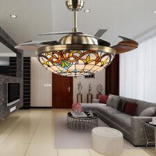 "42"" Ceiling Fan w/ Light & Remote Control Vintage Chandelier Tiffany Style"