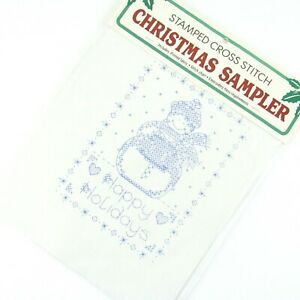 Special Edition Bucilla Christmas Sampler Stamped Cross Stitch Pattern Snowman