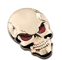Skeleton Skull Bone 3D Metal Auto Car Motor Logo Emblem Badge Sticker Decal GOLD