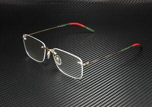 GUCCI GG0399O 002 Square Gold Multicolor Gold Demo Lens 56 mm Men's Eyeglasses