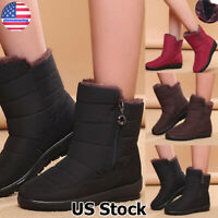 Womens Winter Warm Waterproof Snow Boots Fur Lined Zipper Ankle Booties Shoes US