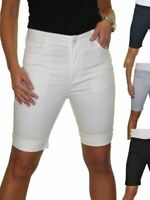 Ladies Stretch Chino Sheen Jeans Style Shorts Turn Up Cuff Above Knee 10-20