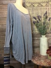 Free People Oversized Blue Knit Thermal Embellished Cuff Top Boho SZ S/M