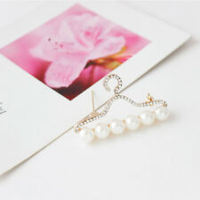 Lovely Hanger Shaped Simulated Pearl Rhinestone Brooch Pin Bridal Ornament