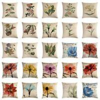 18'' Retro Flower Pillow Case Cotton Linen Sofa Cushion Cover Throw Pillow Cover