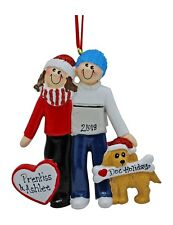 PERSONALIZED 2019 Sweethearts Couple With Dog Ornament Holiday Gift