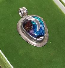 Vintage Sterling Silver Colorful Dichroic Glass Slide Pendant Blue Purple 10b 47