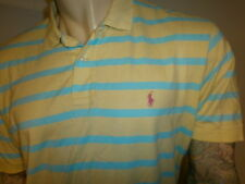 vtg RALPH LAUREN POLO SHIRT Stripe Yellow Blue Pink Embroidered 80s 90s Pullover