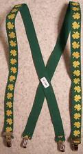 "Suspenders Children & Junior 1""x36"" FULLY Elastic Irish Shamrocks gold on green"