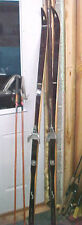 MW1 Vintage Norway Asnes Cross Country Wooden Hickory skis & poles bindings