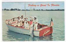Speed Boat Fishing Florida 1966 postcard