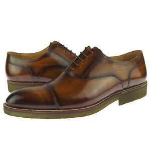 Mens Carrucci Round Toe Leather Oxford Dress Casual Solid Shoes Cognac Non-Slip