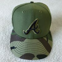 $39.99 NWOT Atlanta Braves MLB Authentic New Era Green/Camo 59FIFTY Fitted Hat