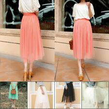 AU Women High Waisted Knee Length 5 Layers Tulle Dress Stretch Pencil Midi Skirt