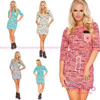 Womens Modern Party Mini Dress Letters Pattern 3/4 Sleeve Sizes 8 - 14 6596