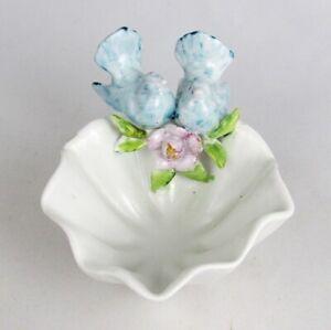 Vintage Hand Painted Porcelain Bluebird Lovebirds Bird Fluted Trinket Dish Bowl