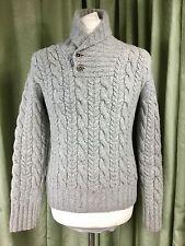 Polo by Ralph Lauren MERINO / CASHMERE HAND Knit Aran Scialle Maglione Grigio-M