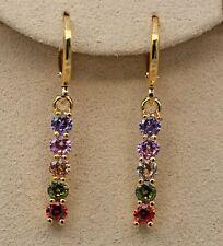 18K Yellow Gold Filled - 1.3'' Bar Stick Amethyst Topaz Morganite Hoop Earrings