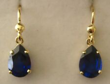 GENUINE  SOLID  9K  9ct YELLOW  Gold  PEAR  SHAPE  SAPPHIRE  EARRINGS