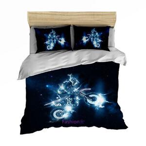 Linen Black Motorbike Duvet Quilt Cover Set Single/Queen/Double/King Bed Set