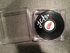 Detroit Red Wings Jonas Gustavsson Autograph Signed Hockey Puck Monster NHL