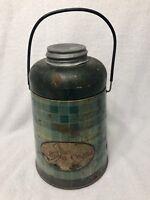Vintage Metal PELICAN COOLER PICNIC JUG Green Plaid ATLAS Glass Jar Inside