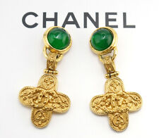 CHANEL CC Green Gripoix Cross dangle Earrings Gold Clip-On Vintage w/BOX v1687