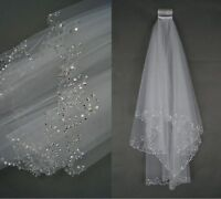 2019 2 Tier White/Ivory Elbow Sequins Beaded Edge Wedding Bridal Veil With Comb