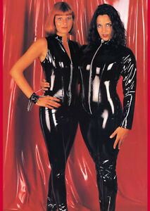 THE FEDERATION PVC WET LOOK CATSUIT SLEEVED 42 INCH TWO WAY ZIPPER  ALL SIZES