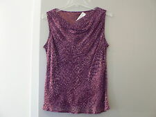 JONES NEW YORK Purple Snakeskin Print Blouse Top Sz 8 Sleeveless Drape Neck