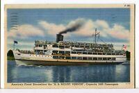 1939 S.S. MOUNT VERNON Underway and @ The Landing, Mt. Vernon VA Postcard Lot/2