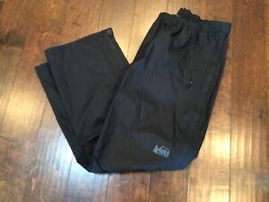REI CO-OP Men's Large Black Nylon Hiking Outdoors Rain Pants Reflective EUC 2.5L