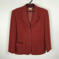 J. Crew Blazer Size L Red Wool Nylon Cashmere Womens Lined 3 Button Jacket