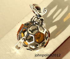 Bee on Honey Ball Baltic Amber Pendant on   Silver 925.