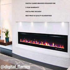 50 INCH LED 'DIGITAL FLAMES' WHITE BLACK INSERT WALL MOUNTED ELECTRIC FIRE 2021