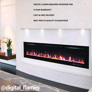 50 INCH LED 'DIGITAL FLAMES' WHITE BLACK INSERT WALL MOUNTED ELECTRIC FIRE 2020