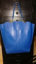 Designer TIME'S ARROW Royal Blue Leather Tote Bag Shoulder Bag Handbag Purse