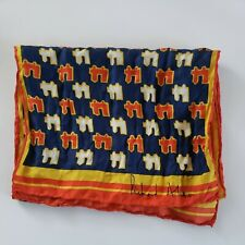 "Richard Allan Yellow Scarf Silk House Print 29 x 9"" Handmade Handstitched Vtg"