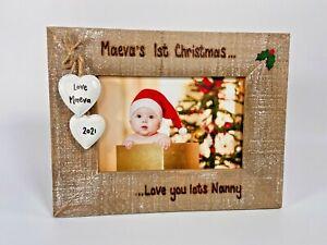 Baby's First Christmas - Personalised Driftwood Photo Frame Gift Nan Grandad Mum
