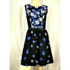 Eric & Lani New Junior's Black Blue Floral Sleeveless Dress Women's Medium