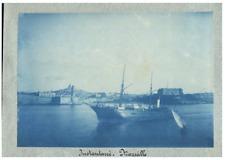 France, Marseille, Instantané  vintage print  cyanotype  11x16  Circa 1885