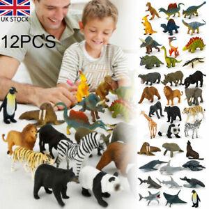 12Pcs Kids Small Plastic Figures Zoo Animal Wild Ocean Dinosaur Model Toys Gifts