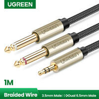 "Ugreen 3.5mm 1/8"" TRS to Dual 6.35mm 1/4"" TS Mono Stereo Y Splitter Cable 3FT"